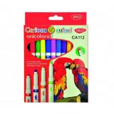 Cumpara ieftin Set 12 Carioci Multicolore DACO, Carioci Colorate, Carioci Multicolore, Set Carioci Multicolore DACO, Carioci Lavabile, Marker Colorat, Markere Colora