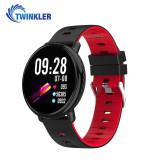 Bratara fitness inteligenta TKY-K1 cu functie de monitorizare ritm cardiac, Tensiune arteriala, Pedometru, Notificari, Rosie