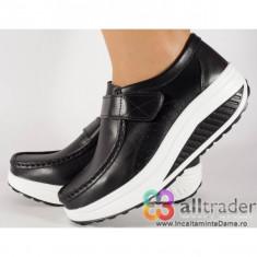Pantofi negri talpa convexa piele naturala dama/dame/femei (AC019-32V2)