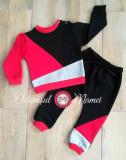 Trening 3 culori bumbac bebe – negru, rosu, gri
