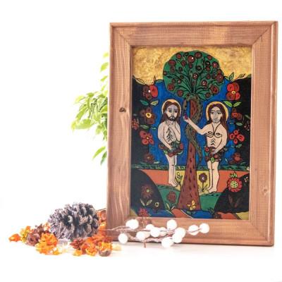 Adam si Eva(Nicula, a doua jumatate a sec. XIX ) -Icoană pictată pe sticlă foto