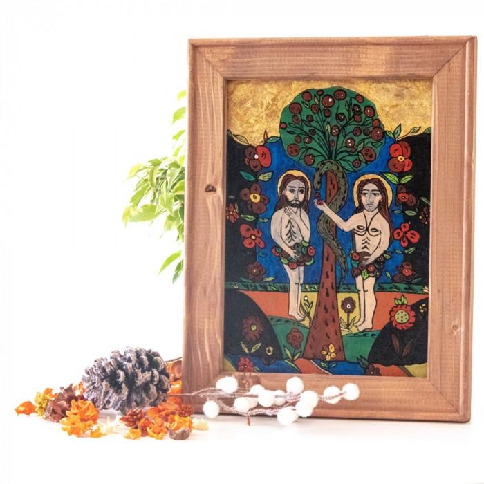 Adam si Eva(Nicula, a doua jumatate a sec. XIX ) -Icoană pictată pe sticlă