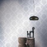 Role de tapet nețesut, 2 buc., alb, 0,53 x 10 m, ornamental, vidaXL