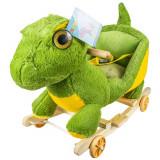 Balansoar pentru bebelusi, Dinozaur, lemn + plus, cu rotile, China