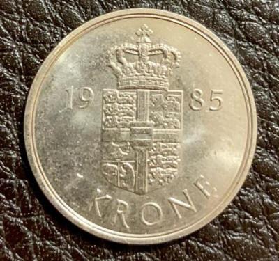 Danemarca - Moneda - 1 KRONE - 1 Coroana daneza anul 1985 - produsul din imagini foto