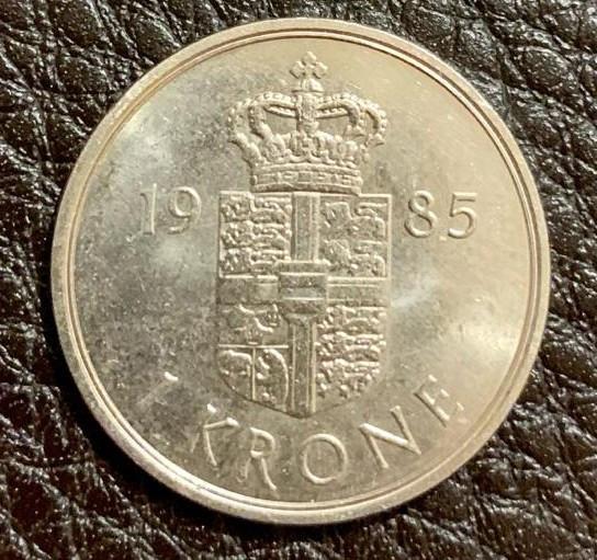 Danemarca - Moneda - 1 KRONE - 1 Coroana daneza anul 1985 - produsul din imagini