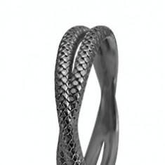 Inel Twin Snake, Argint 925 placat cu ruteniu, Masura 59