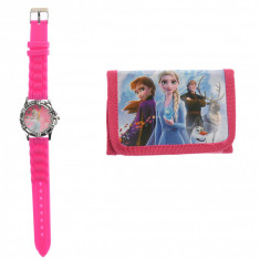 Set ceas, pentru copii, cu Frozen, portofel cadou