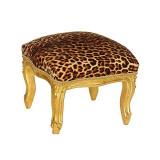 Cumpara ieftin Scaunel din lemn masiv auriu cu tapiterie leopard, Scaune, Baroc