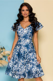 Cumpara ieftin Rochie Moze alba cu imprimeu animal print bleu