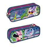 Penar Minnie Mouse, tip borseta, pentru scoala, 23x9x5 cm, Albastru