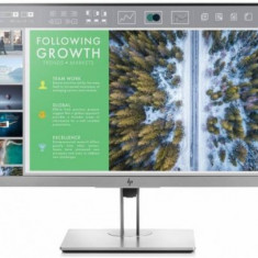 Monitor IPS LED HP EliteDisplay 23.8inch E243, Full HD (1920 x 1080), VGA, HDMI, DisplayPort, USB 3.0, Pivot, 5 ms (Argintiu/Negru)