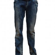 Pantalon modern de blug, de culoare albastru indigo, cu model