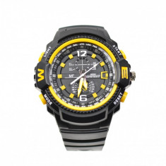 Ceas de mana barbati sport analog negru cu galben - MF9005Q
