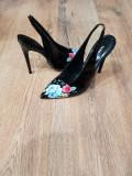 Pantofi stiletto piele naturala noi 37- REDUCERE 30% la doua perechi cumparate, Negru, Cu toc