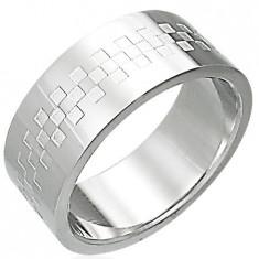 Inel strălucitor din oțel inoxidabil cu tablă de șah - Marime inel: 59