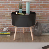 VidaXL Masă laterală rotundă cu tavă de servire, 39,5x44,5 cm, negru