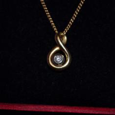 PANDANTIV AUR 18K + 1 diamant = 0.10ct. - De firma Adini + lantisor - 6g. !