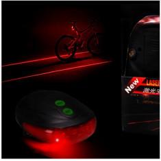 Stop 5 led pentru bicicleta si 2 lasere traseu, culoare rosie, laser rosu