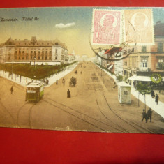 Ilustrata TCV - Timisoara - Piata Kuttel 1919 , circ.1922 la Paris, Circulata, Printata