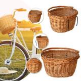 Cos de bicicleta, ratan, tije metalice pentru atasare, montare ghidon, toarta, maro natur