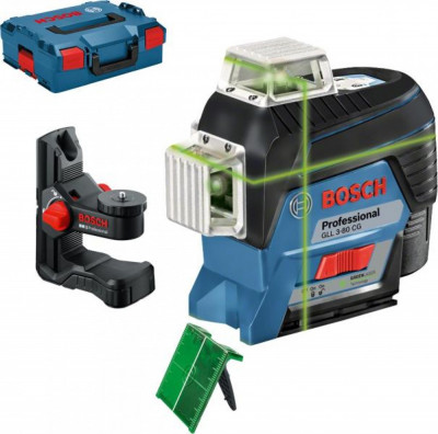 Bosch GLL 3-80 CG + BM 1 (solo) Nivela laser cu linii verzi (30 m) cu Bluetooth + Suport + L-Boxx foto