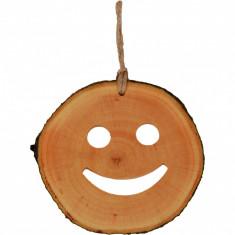 Decoratiune de craciun New Way Decor - Smiley din felie de lemn
