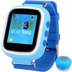 Ceas Smartwatch cu GPS Copii iUni Kid90, Telefon incorporat, Buton SOS, BT, LCD 1.44 Inch, Blue + Boxa Cadou