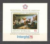 Romania.1976 Bicentenarul Revolutiei Americane:Pictura-colita  HR.297, Nestampilat
