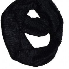 Esarfa circulara de iarna din blanita sintetica de culoare neagra