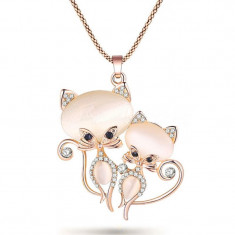 Colier fashion cu pisicute si cristale