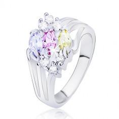 Inel lucios argintiu, brațe despărțite cu zirconii ovale colorate - Marime inel: 56