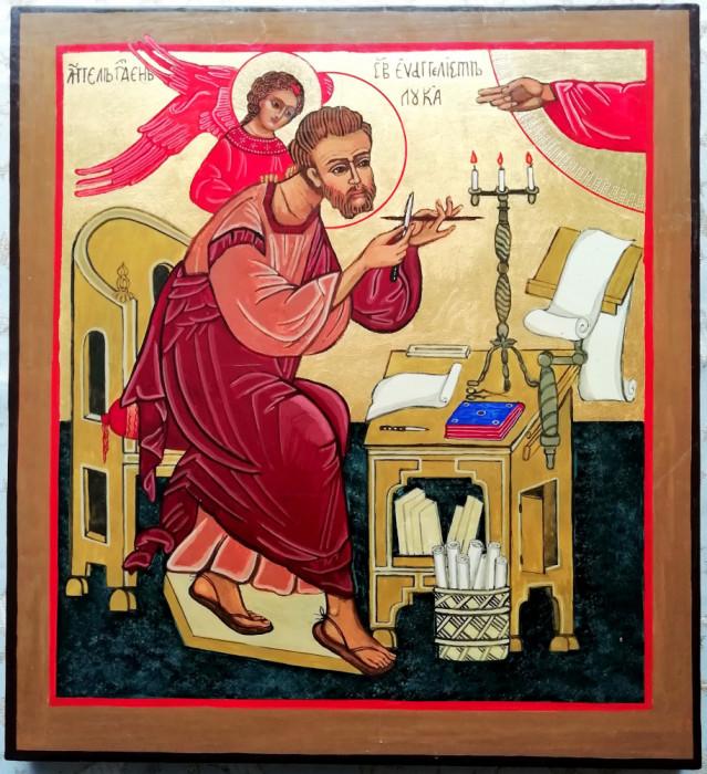 Icoană cu Sf. Apostol și Evanghelist Luca - pictata pe lemn - 33x30 cm
