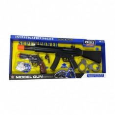 Set pusca si pistol de jucarie pentru copii cu sunete si lumini - HY80065