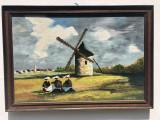 Tablou vechi olandez,semnat,pictura,peisaj,ulei pe panza