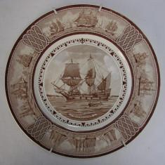 Farfurie decorativa englezeasca WEDGWOOD - vase de navigatie americana, Farfurii