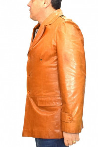 Haina barbati, din piele naturala, marca Kurban, 4-16-95, coniac , marime: 50