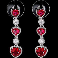 Cercei placati cu Aur 18K si Diamante, Calypso Platinum & Red
