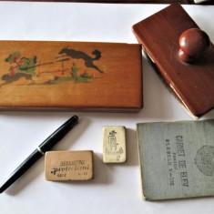 Obiecte scolare vechi, Comunism: Penar, Stilou, Radiere, Suport Sugativa, Carnet