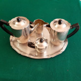 SERVICI 5 PIESE PENTRU CEAI SI CAFEA - ARGINTATE- anii 1930 - art deco