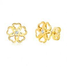 Cercei din aur galben 585 - floare cu inimi sculptate, zirconiu