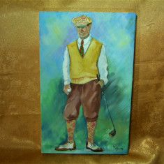 Tablou pictura ulei pe panza, Golf, semnata