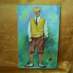 Tablou pictura ulei pe panza, Golf, semnata, Portrete, Altul
