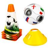 Set antrenament fotbal, jaloane, minge si conuri, pentru copii