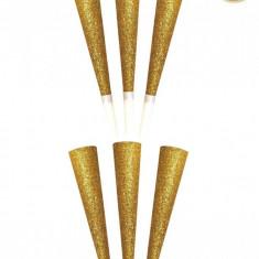 Trompete party aurii cu sclipici - 25 cm, Radar 52093, set 6 buc