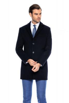 Palton barbati business slim bleumarin B157 foto
