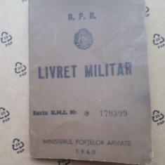 LIVRET MILITAR R P R  × an 1960 eliberat in 1966