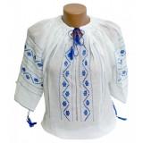 Ie romaneasca pentru femei, marime universala, Alb/Albastru