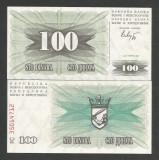 BOSNIA  HERTEGOVINA  100  DINARI / DINARA   1992  UNC  [1] P- 13 a , necirculata