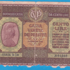 (1) BANCNOTA ITALIA - 100 LIRE 1918, RARA
